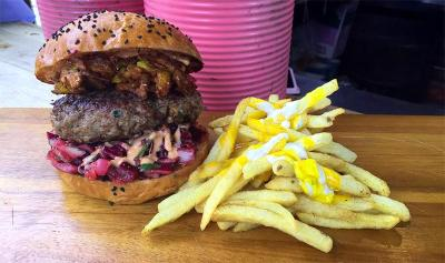 Baba G's Bhangra Burgers long-term pop-up in Finsbury Avenue Square