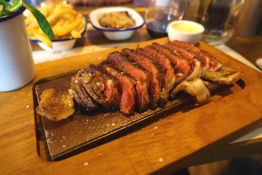 Test Driving the steak for a tenner at Flat Iron in Shoreditch