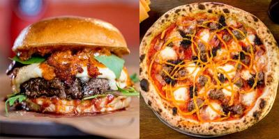 Pizza and burgers finally together at last, as Yard Sale meet Patty and Bun