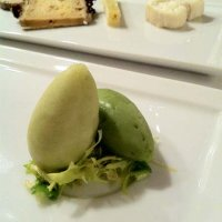 The cheese course, served with apple and celery sorbets