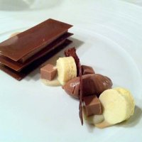 Milk chocolate, banana and rum millefeuille, banana parfait