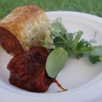 Pulled pork sausage roll with tomato chilli relish from Chop Shop