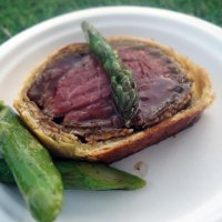 32 day aged beef Wellington, buttered asparagus from Plum and Spilt Milk