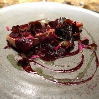 Red mullet, turnip, oxalis and blackcurrant leaf