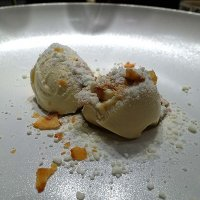 Chervil root ice cream and aged buckwheat