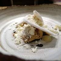 Bonfire night birch sap mousse, Coxs Apple and meringue, 48 hours freeze dried cheese