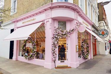 Peggy Porschen opens a second bakery, in Chelsea, and yes - it's floral and very pink