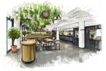 Pergola on the Wharf is taking over the rooftop space at Canary Wharf's Crossrail Place