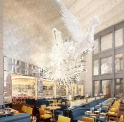 Selfridges team up with Caprice for Brasserie of Light (inc a huge Damien Hirst crystal Pegasus)