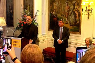 Chef Jose Pizarro is feted with a party at the Spanish Embassy