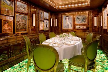 Scott's new private dining room has paintings by Renoir and Chagall on the walls