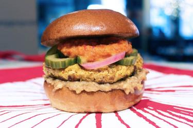 Haché and Sambal Shiok team up for the Chicken Satay Burger