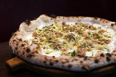 Cornerstone's Tom Brown changes his potted shrimp crumpet into a pizza for Hai Cenato