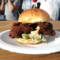 Fried buttermilk chicken, smoked streaky bacon, guacamole and smoked chilli mayo - from Buthchies