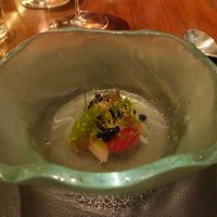Mackerel in coal oil, marinated tomatoes, seaweed and fennel