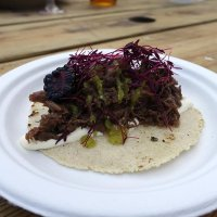 Braised Ox tail Oxtail with blackberry, crema, with tomatillo salsa - from Mole Tacos