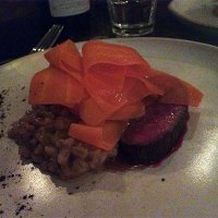Fallow deer with toasted barley and ribbons of carrot