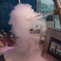 The nitro ice cream machine in action