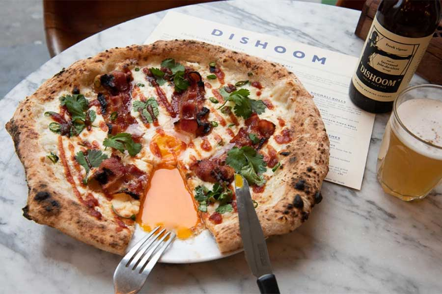 Dishoom and pizza pilgrims bacon naan pizza