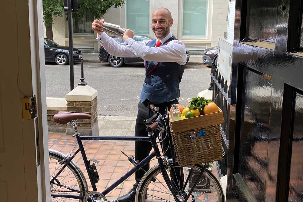 berkeley's blue bar does cocktail deliveries by bike