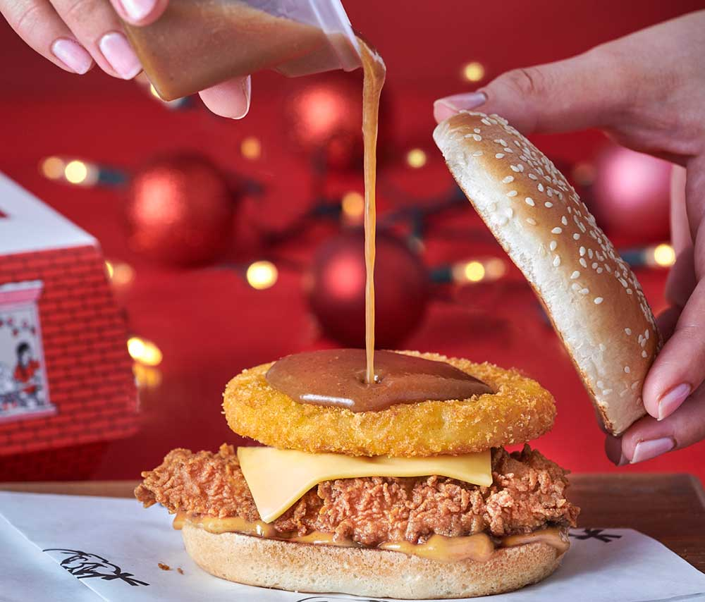 kfc are launching a festive burger meal with a hash brown gravy boat