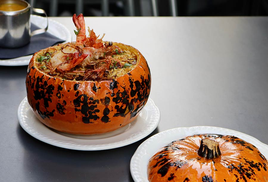 Masala prawn-filled pumpkin from Gunpowder