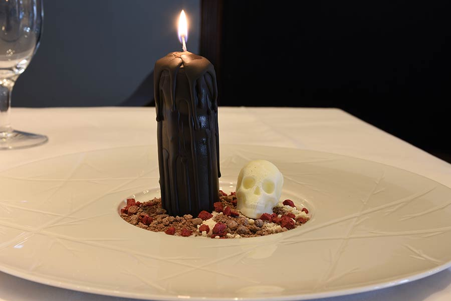 Black candle dessert from The Petersham