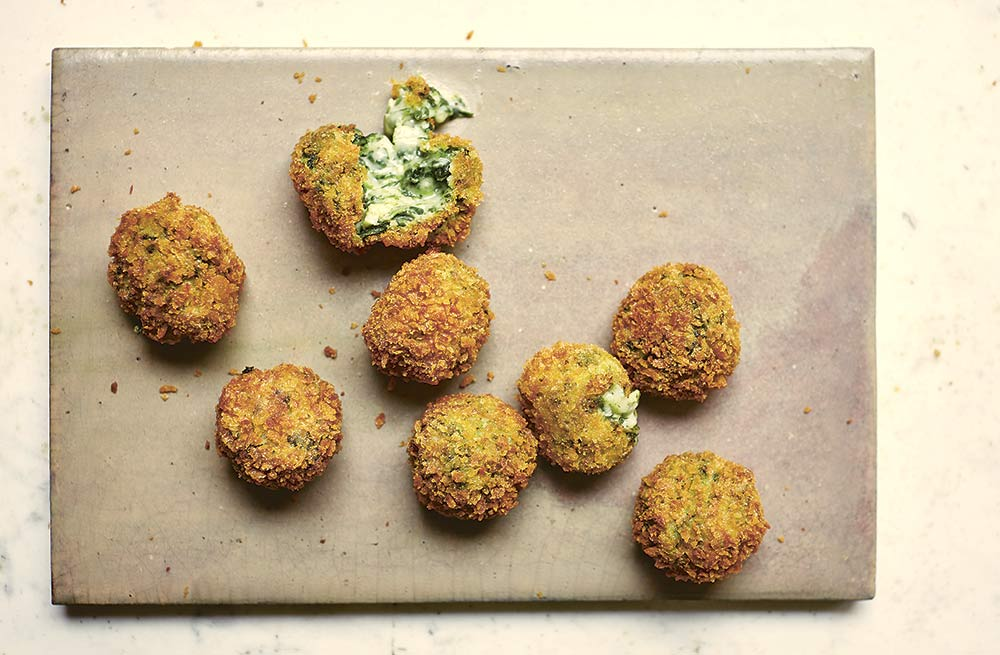 Spinach & goat's cheese croquetas by Jose Pizarro